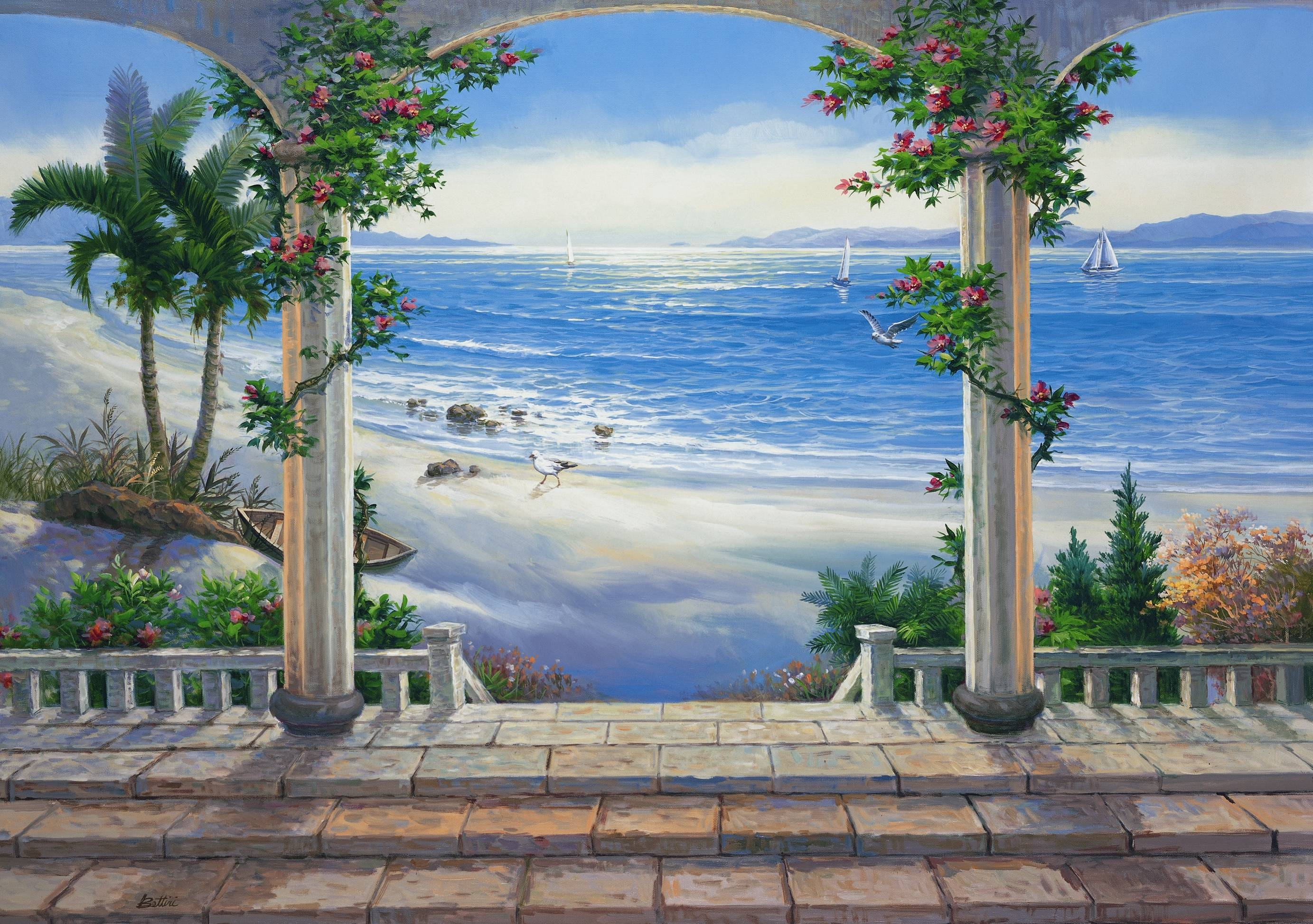 Ocean View Wall Mural Pr1813 In Latest 3D Wall Art Wallpaper (View 19 of 20)