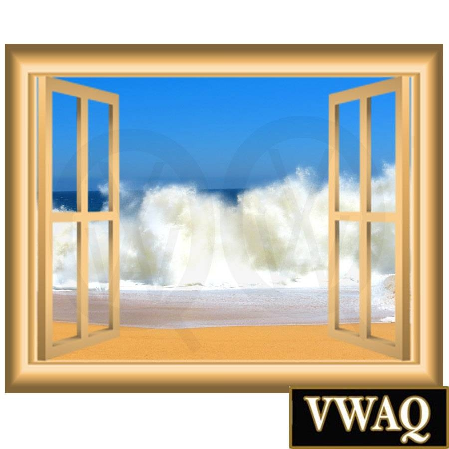 Ocean Waves 3d Vinyl Decal Window Frame Beach Scene Wall Decal With Most Popular 3d Wall Art Window (View 7 of 20)