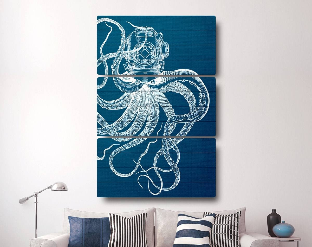 Octopus Canvas Print Nautical Canvas Art Octopus Decor in Best and Newest Nautical Canvas Wall Art