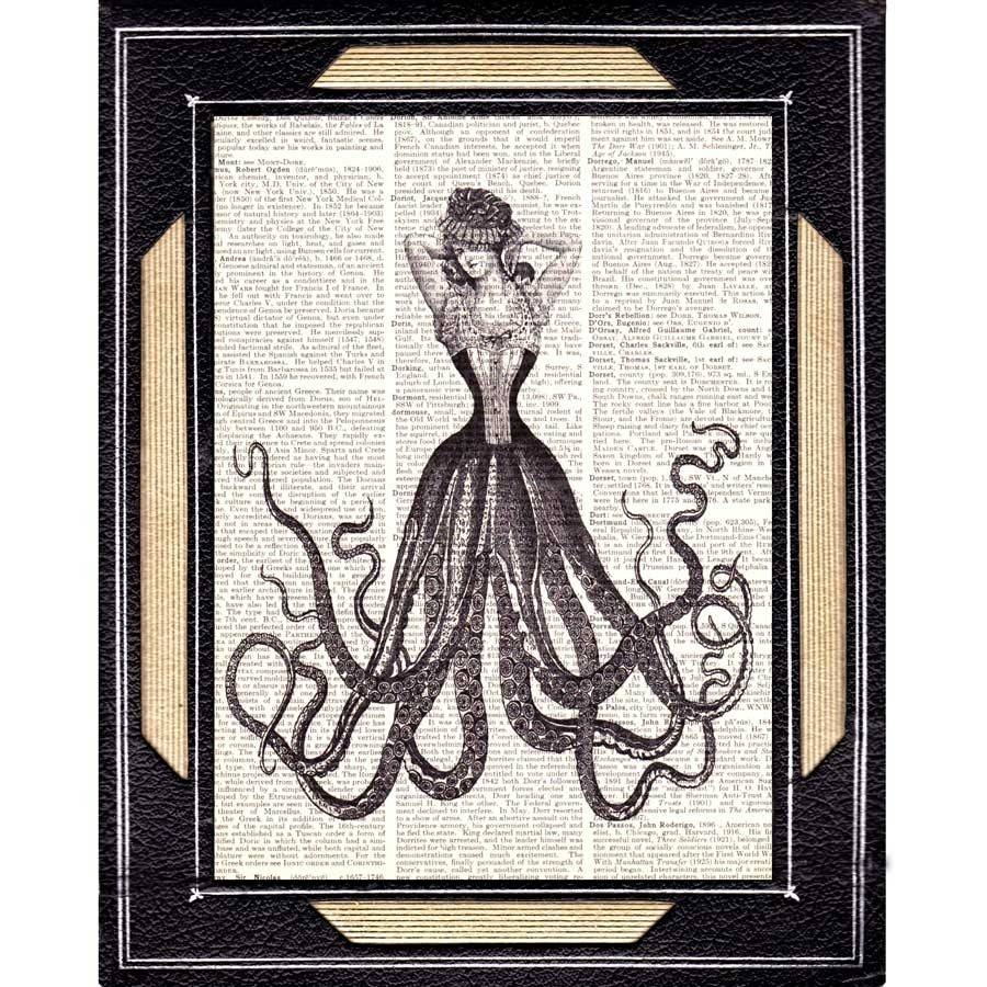 Octopus Woman Art Print Nautical Fantasy Victorian Steampunk Inside Newest Medical Wall Art (View 15 of 20)