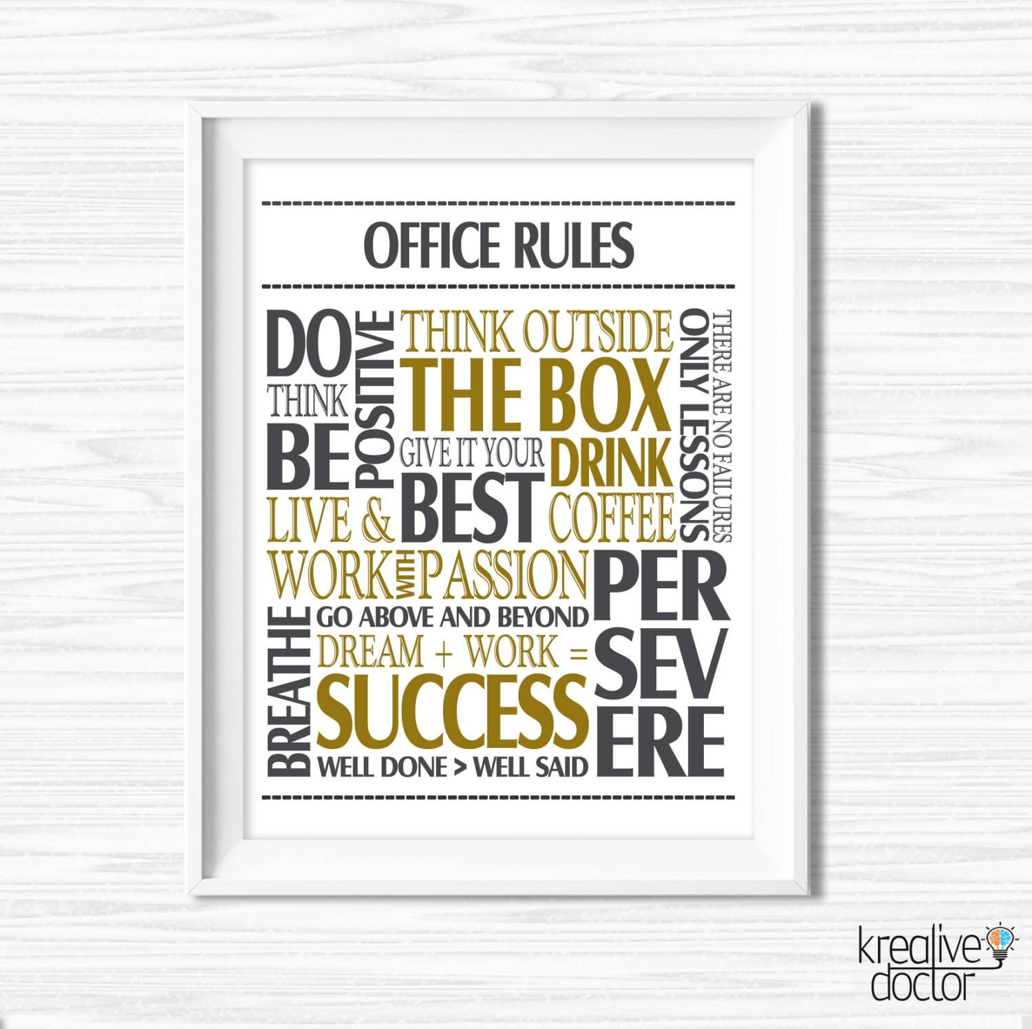 Office Wall Art Motivational Wall Decor Inspirational Quote Within Most Current Inspirational Sayings Wall Art (View 16 of 30)