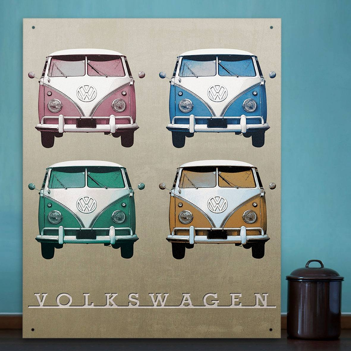 Official Vw Camper Vintage Quad Metal Wall Art Plaque / Sign 41Cm In Latest Campervan Metal Wall Art (View 11 of 20)