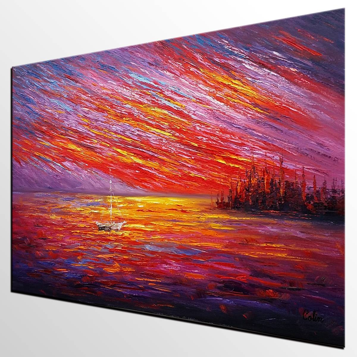 Oil Painting, Original Wall Art, Landscape Painting, Large Art Within Current Oil Painting Wall Art On Canvas (View 8 of 20)