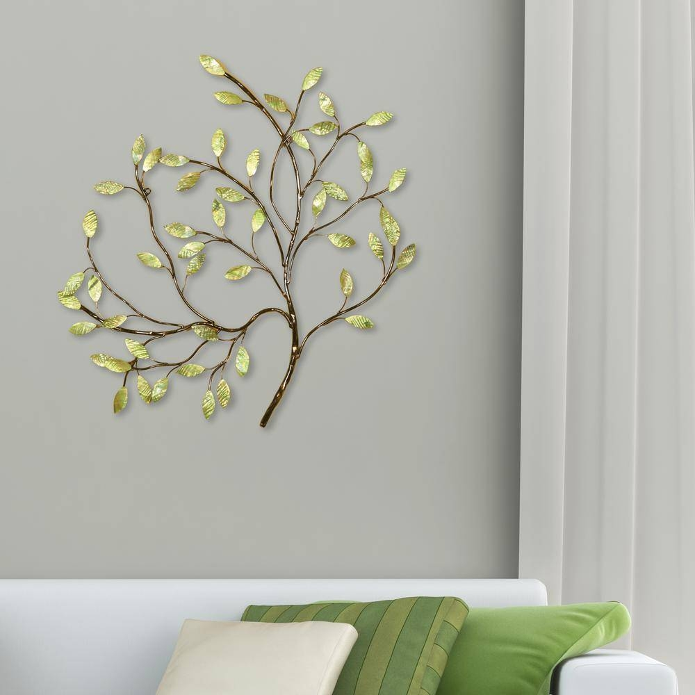 Oil Rubbed Bronze And Green Tree Metal Work Wall Decor 2159 – The For Most Popular Bronze Tree Wall Art (View 13 of 25)