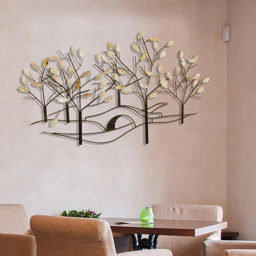 Oil Rubbed Bronze Tree Lined Street Metal Work Wall Decor 2158 Intended For Most Recently Released Bronze Tree Wall Art (View 13 of 25)