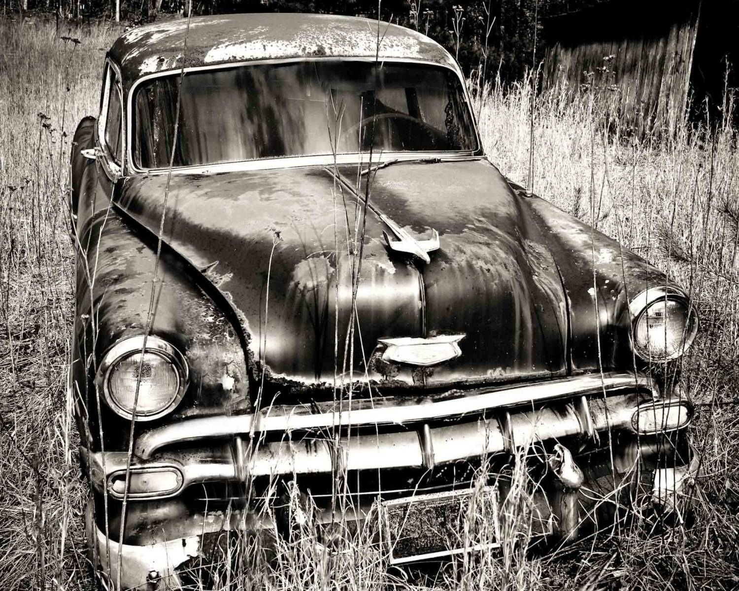 Old Chevy Car Art Black And White Photography Print Wall In Most Up To Date Classic Car Wall Art (View 4 of 25)