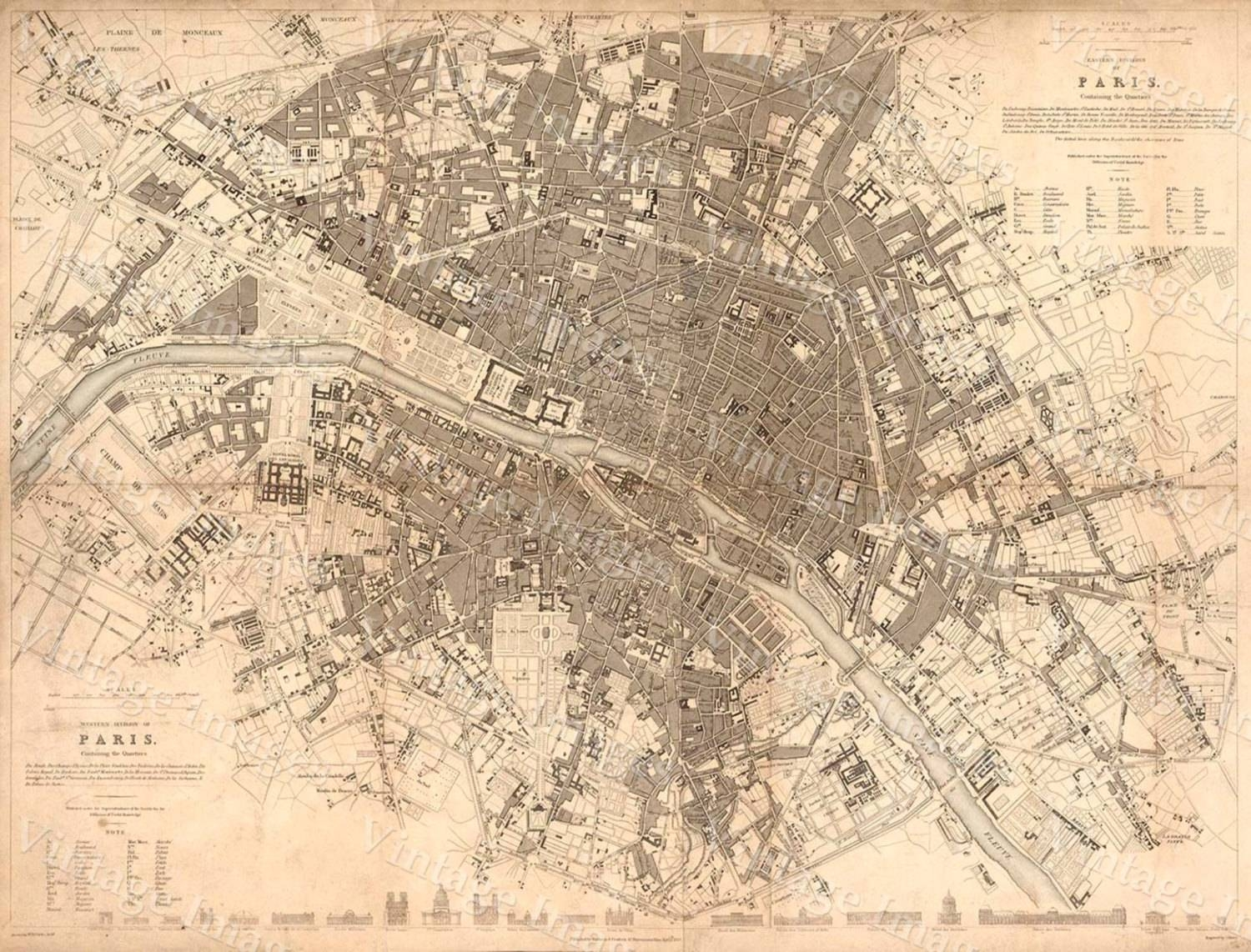 Old Paris Map, 1834 Giant Restoration Hardware Style Map Paris For Most Current Antique Map Wall Art (Gallery 20 of 20)