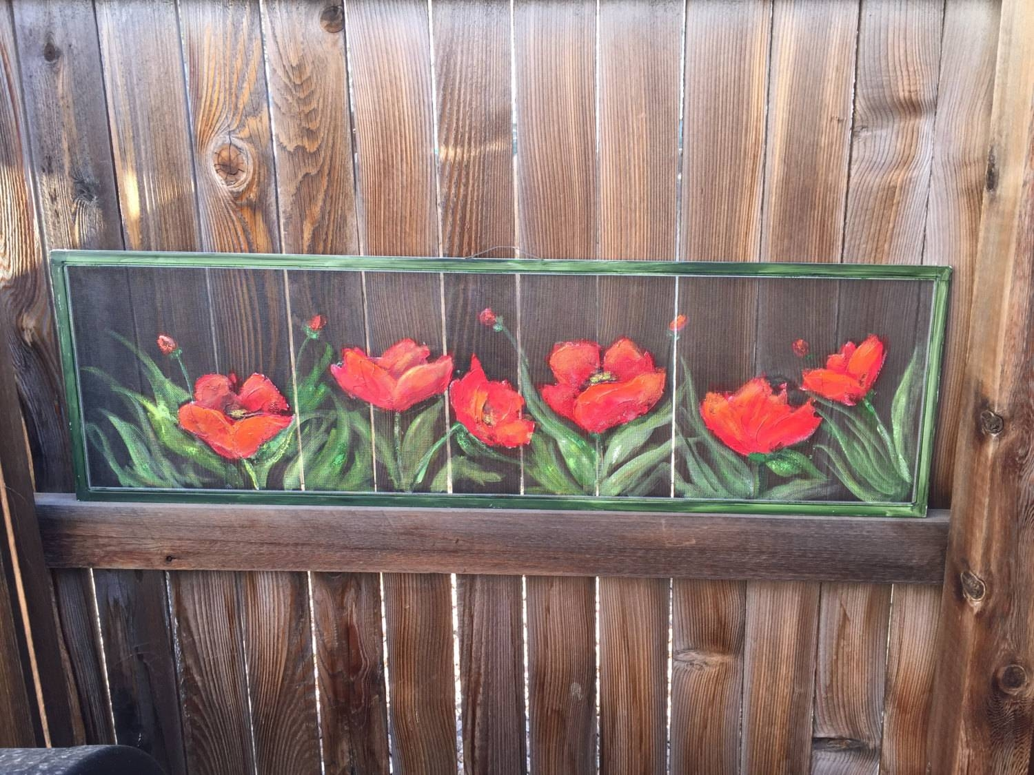 Old Recycled Window Screen Red Poppy Wall Art Red Poppy In Current Recycled Wall Art (Gallery 26 of 30)
