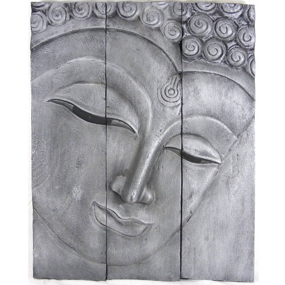 Old Silver Buddha Face Wall Art With Most Recent Black Silver Wall Art (View 9 of 20)