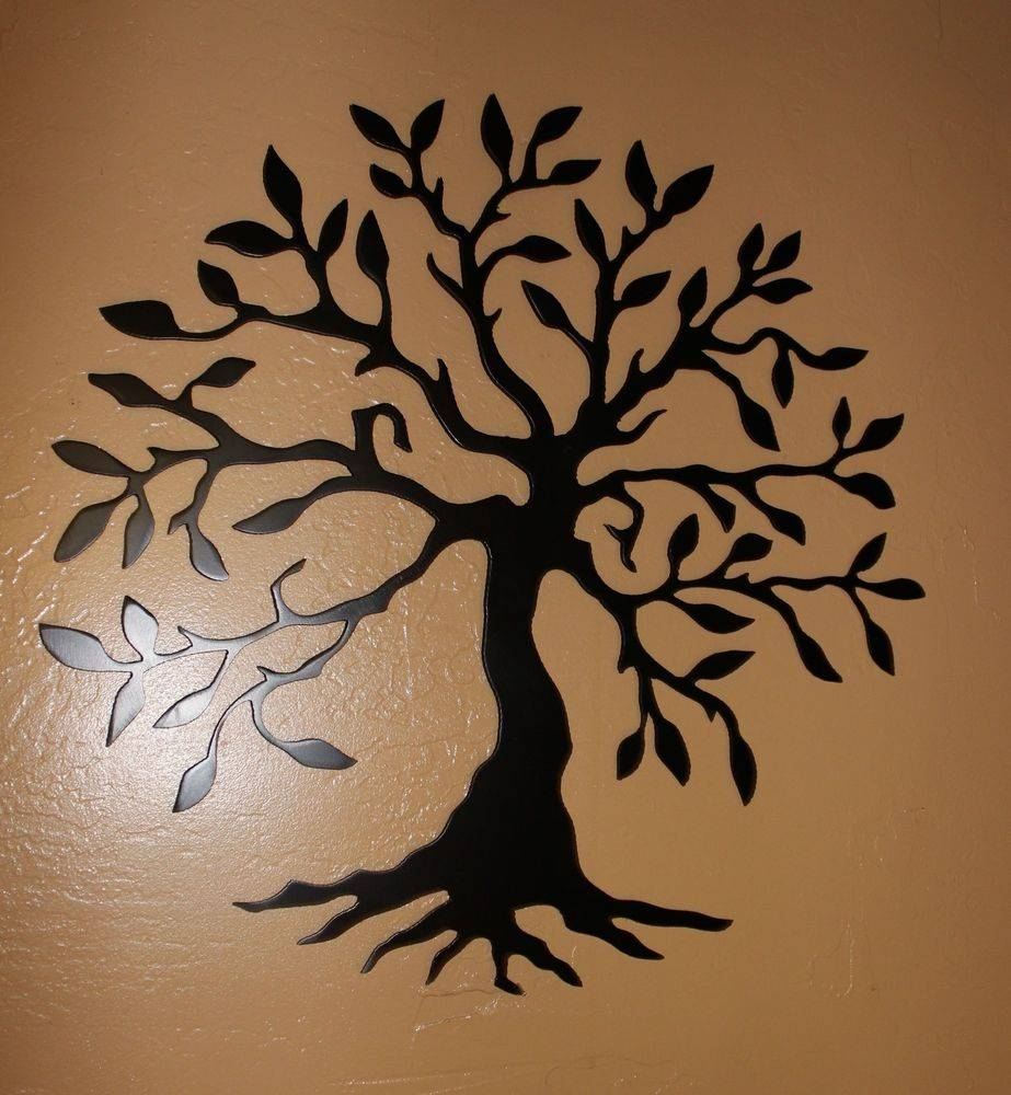 Olive Tree --Tree Of Life Black Metal Wall Art Decor | Ebay throughout Recent Metal Wall Art Trees And Branches