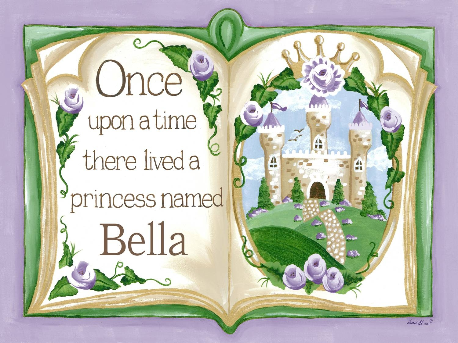 Once Upon A Time Storybook Princess Wall Art, Theme Decor, Sherri Blum Inside Most Current Green Canvas Wall Art (View 16 of 20)