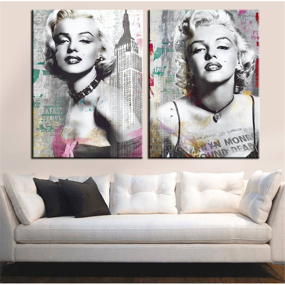 Online Shop 2 Pcs Hd Marilyn Monroe Portrait Wall Art Picture Home Throughout Latest Marilyn Monroe Wall Art (View 17 of 25)