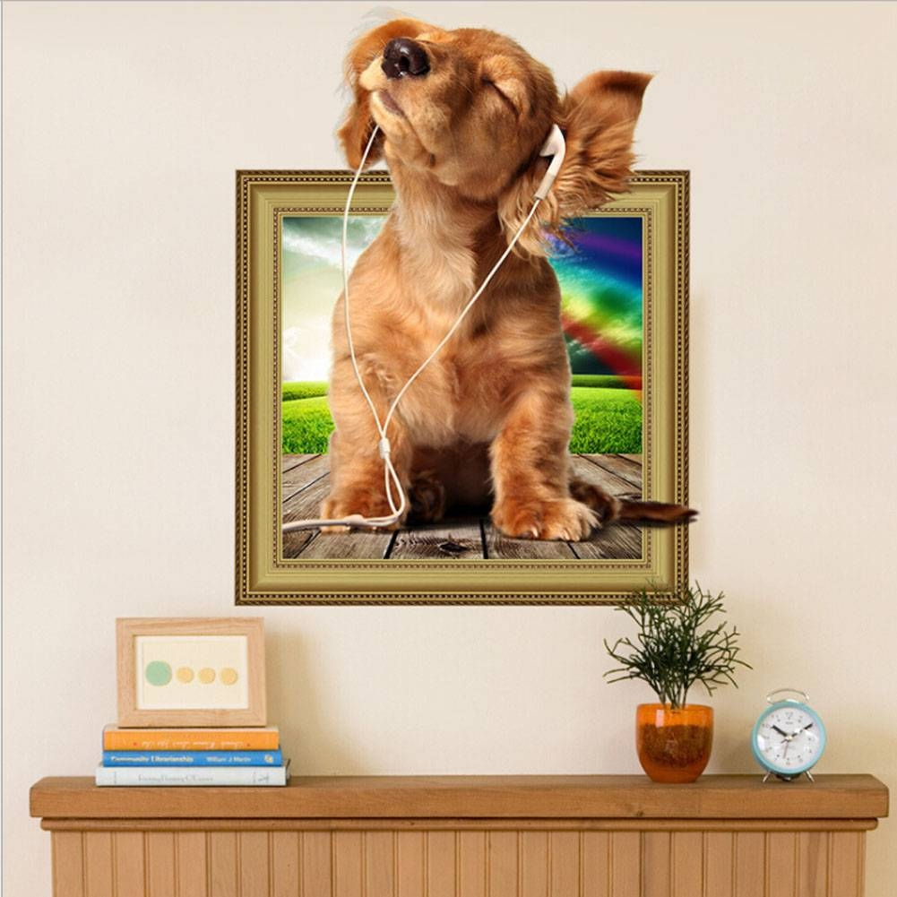 Online Shop 3D Cats Dogs Wall Sticker Hole View Vivid Dogs Bedroom intended for Most Current Dogs 3D Wall Art