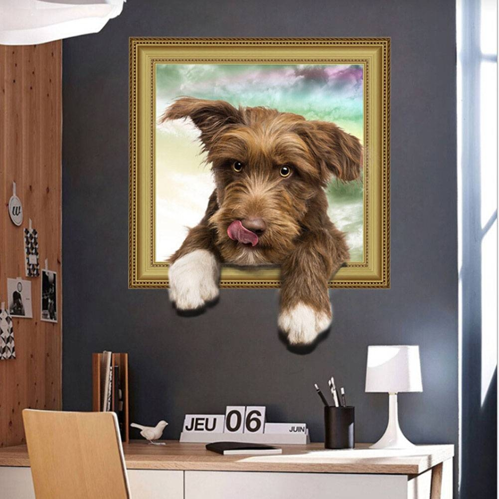 Online Shop 3D Cats Dogs Wall Sticker Hole View Vivid Dogs Bedroom Pertaining To 2018 Dogs 3D Wall Art (Gallery 6 of 20)