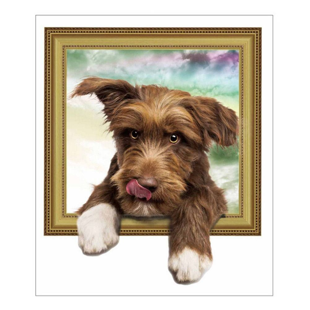 Online Shop 3D Cats Dogs Wall Sticker Hole View Vivid Dogs Bedroom Pertaining To Recent Dogs 3D Wall Art (View 13 of 20)