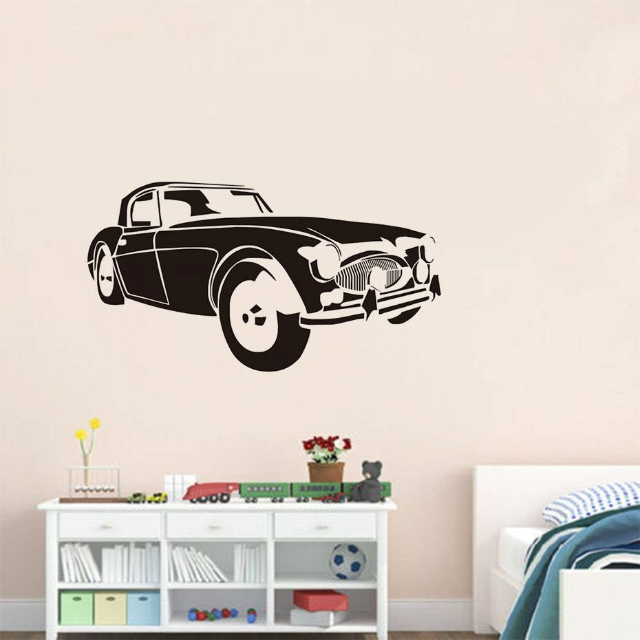 Online Shop 3D Vintage Car Wall Decal Hollow Out Self Adhesive Art inside 2018 Cars 3D Wall Art