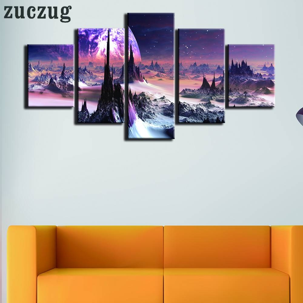 Online Shop 5 Pcs/set Framed Landscape In Outer Space Wallpaper For Latest Outer Space Wall Art (View 11 of 25)