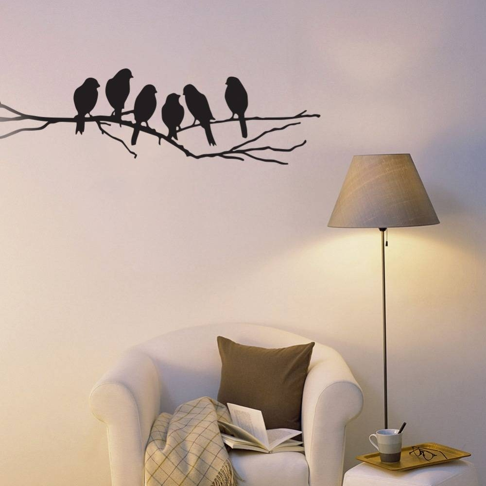 Online Shop Black Bird Tree Branch Wall Sticker Six Birds On The For 2018 Tree Branch Wall Art (View 9 of 20)