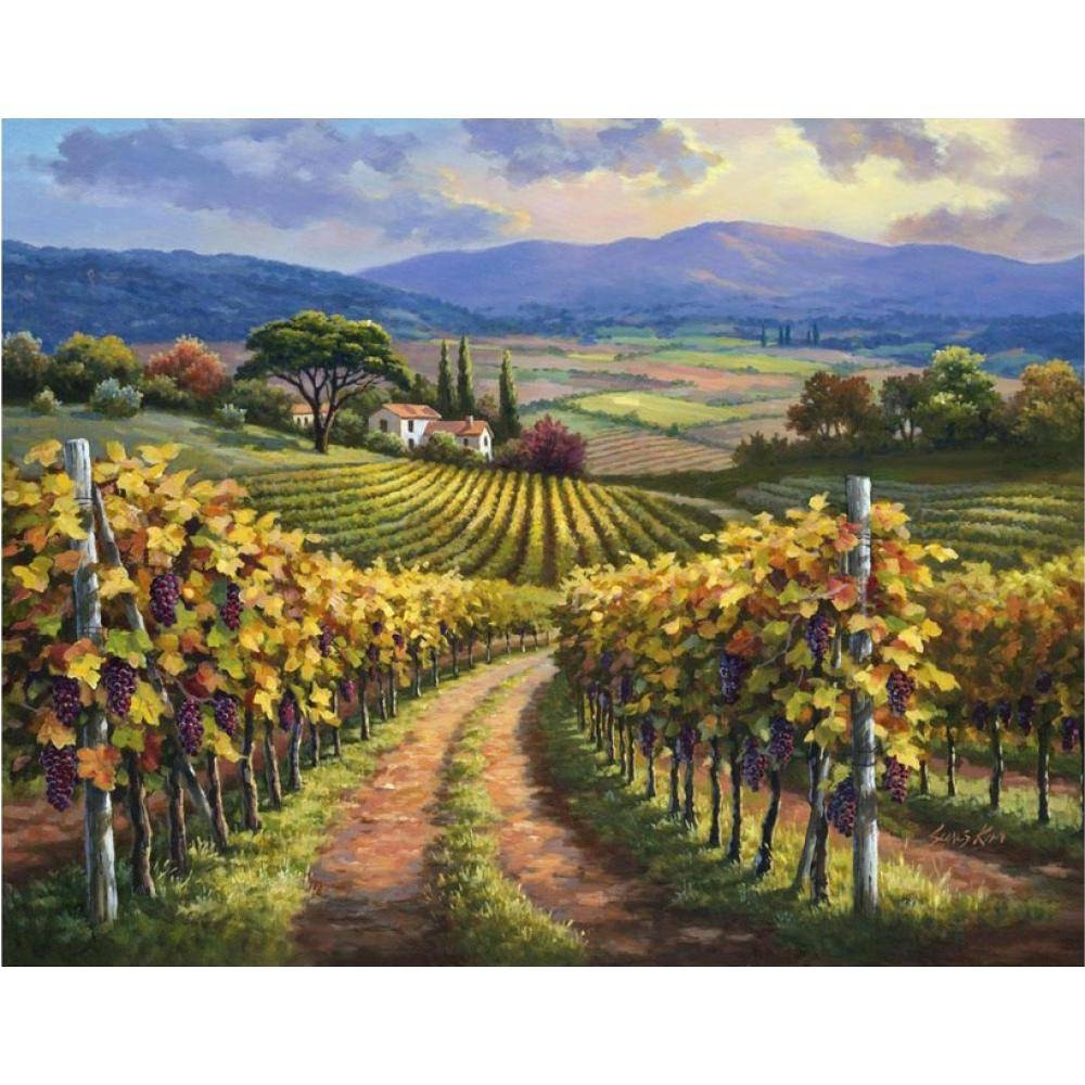 Online Shop Hand Painted Modern Art Landscapes Oil Painting Canvas In Recent Vineyard Wall Art (View 9 of 20)