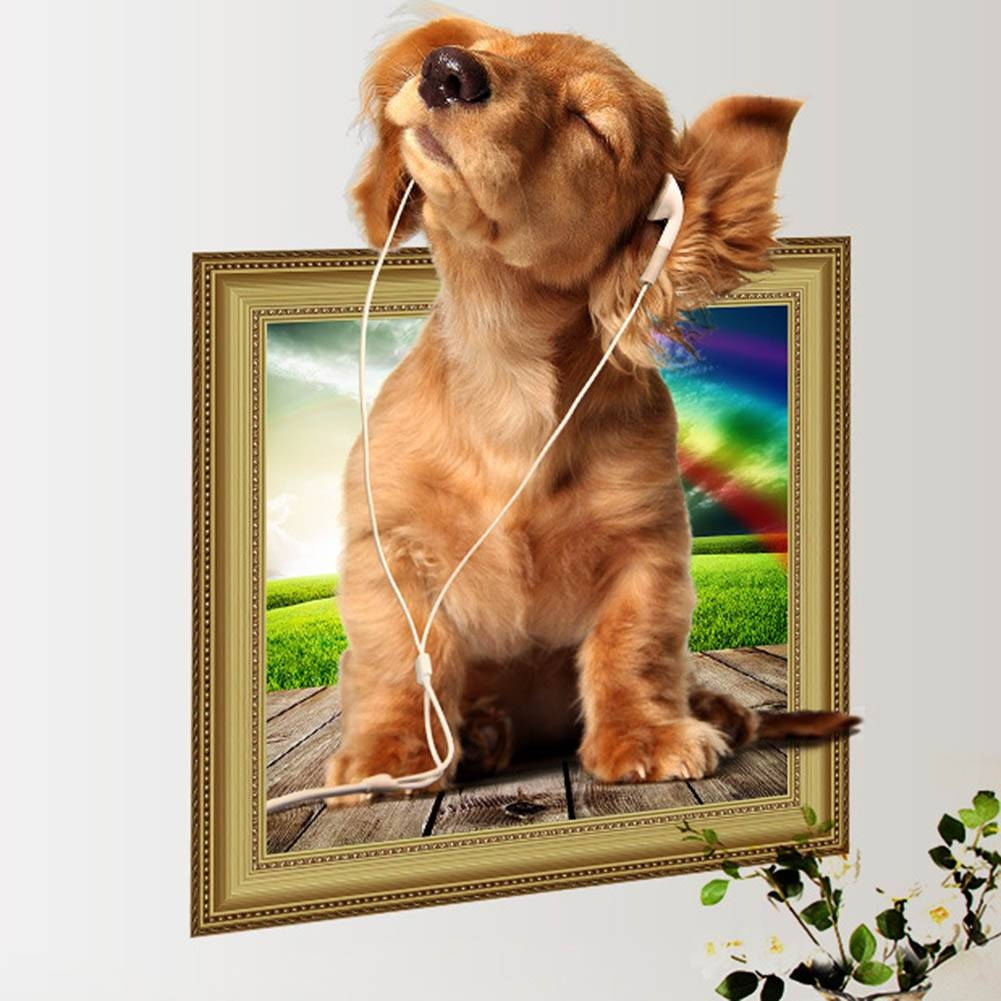 Online Shop Hot Diy 3d Puppy Dog Wall Sticker Pvc Backdrop Decor Regarding Latest Dogs 3d Wall Art (View 4 of 20)
