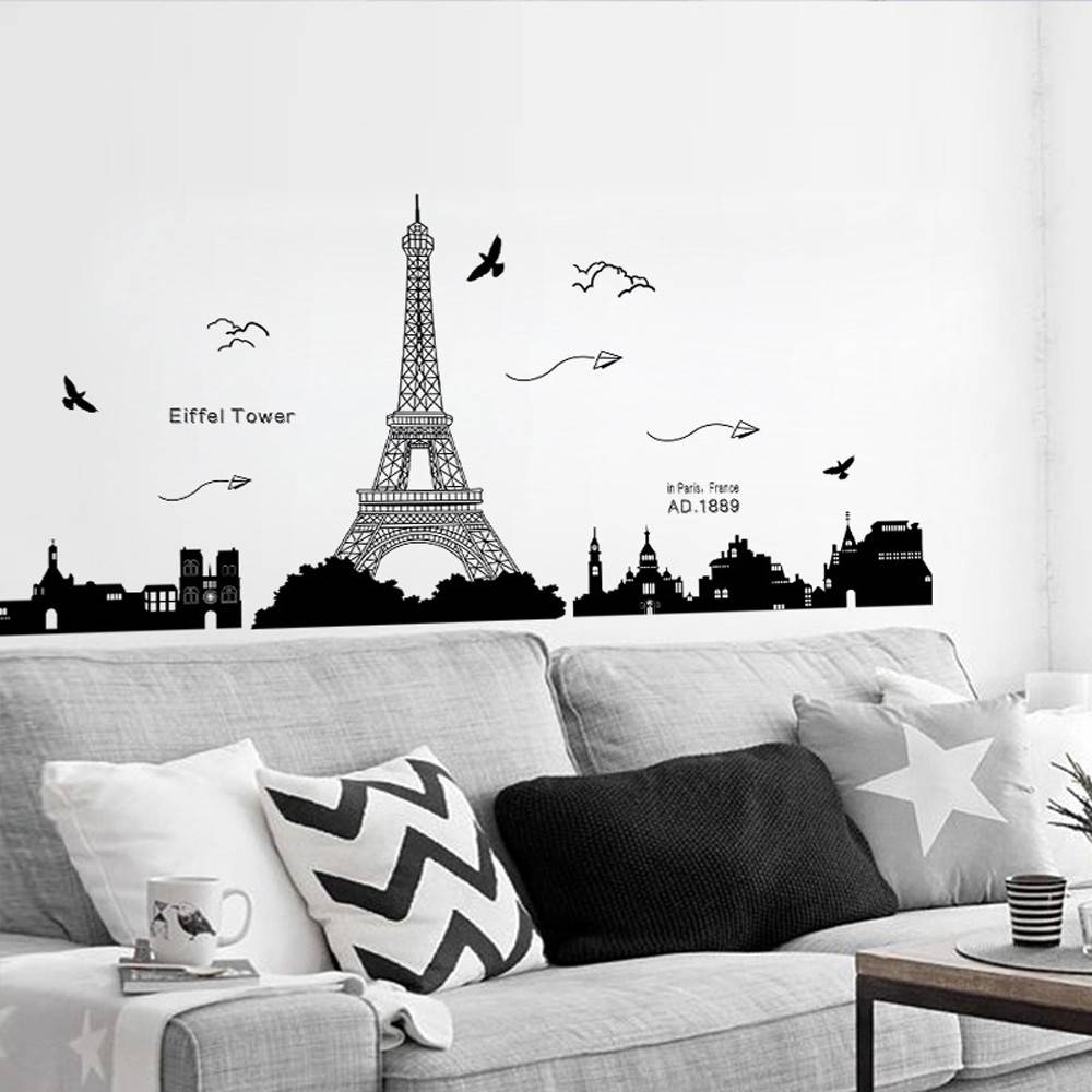 Online Shop Removable Eiffel Tower Wall Stickers Decals Art Mural Pertaining To Most Current Eiffel Tower Wall Art (View 11 of 20)
