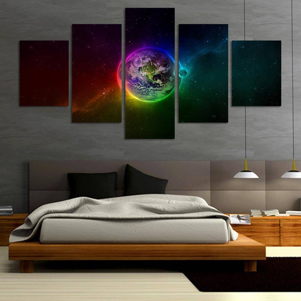 Online Shop Unframed Printed Planets Outer Space 5 Piece Painting With Regard To Current Outer Space Wall Art (View 6 of 25)