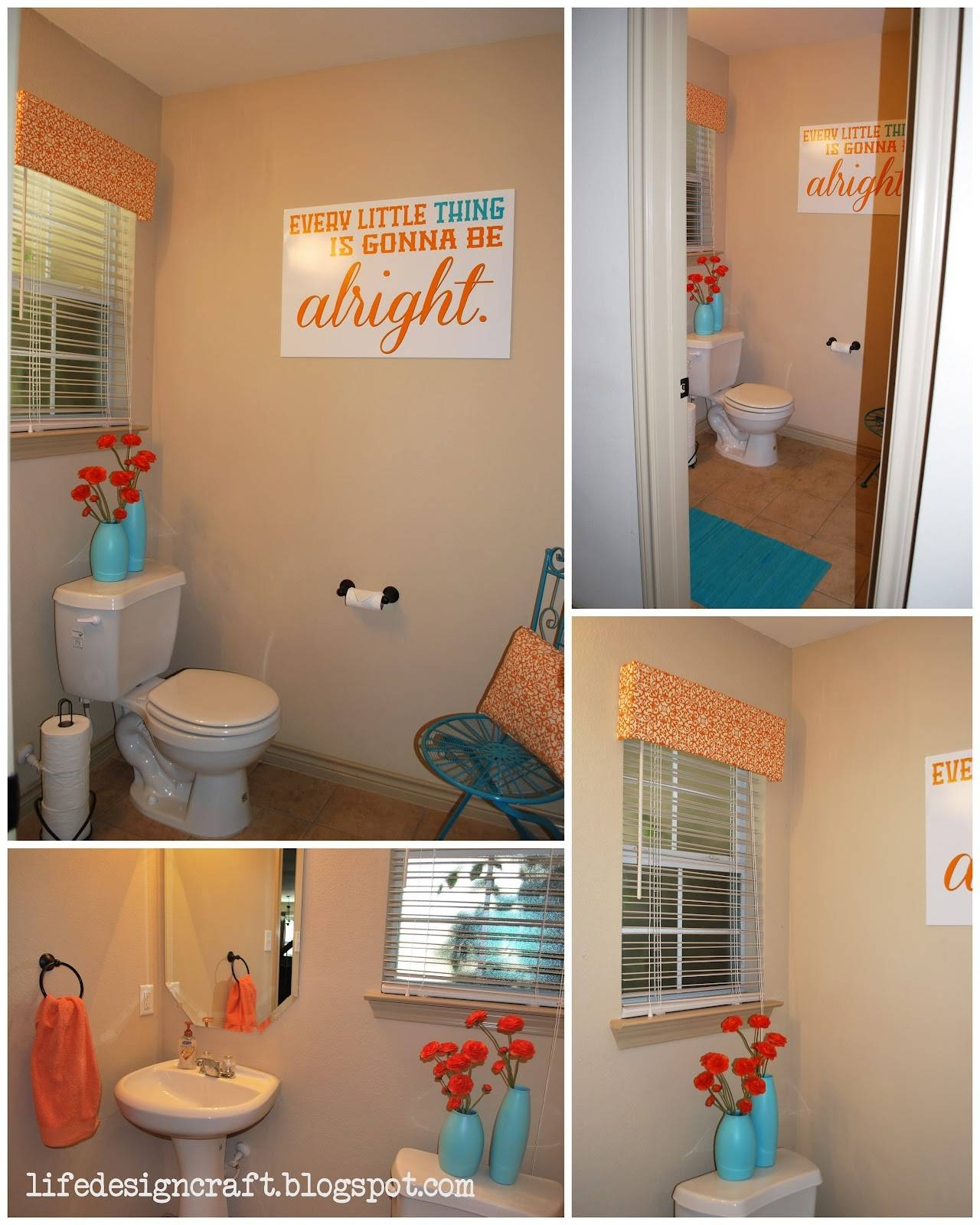 Orange Bathroom Decor – Genwitch With Most Recently Released Orange And Turquoise Wall Art (View 17 of 20)