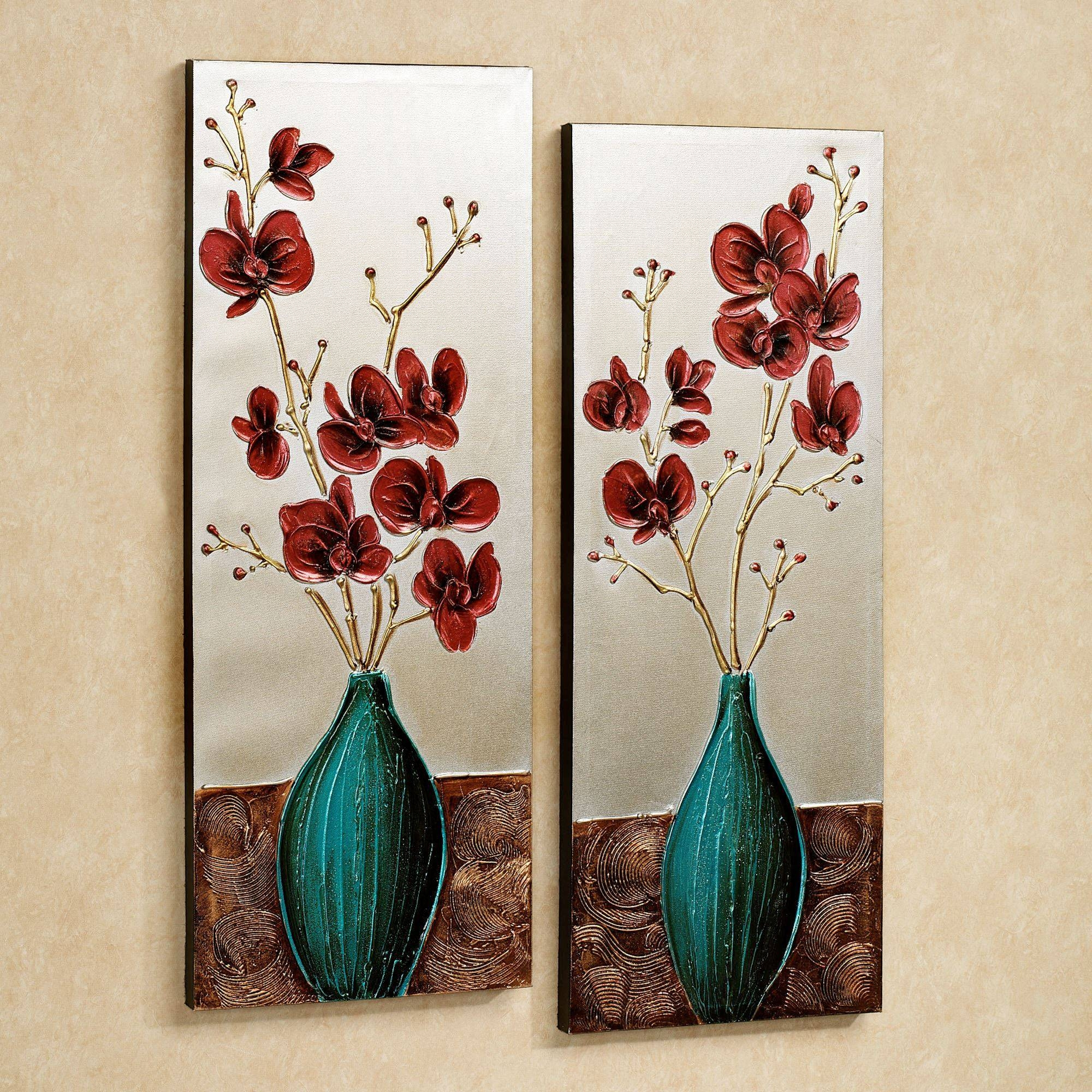 Orchid Medley Floral Canvas Wall Art Set Inside Recent Floral Wall Art Canvas (View 14 of 20)