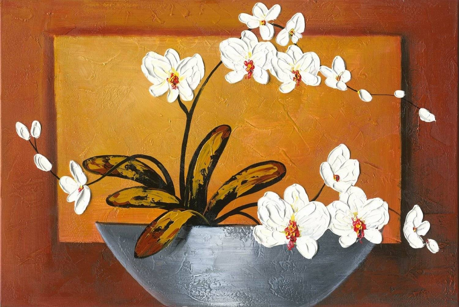 Orchid Modern Canvas Art Wall Decor Floral Oil Painting Wall Art Regarding Newest Floral Wall Art Canvas (View 15 of 20)