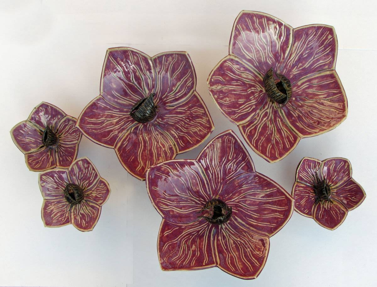 Orchidsamy Meya (ceramic Wall Sculpture) | Artful Home Pertaining To Most Up To Date Ceramic Flower Wall Art (View 10 of 30)