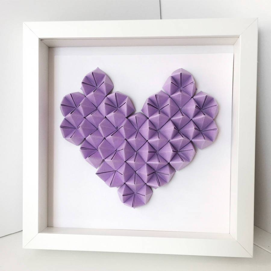 Origami Heart 3D Wall Art Framethe Origami Boutique Regarding Most Up To Date Heart 3D Wall Art (View 15 of 20)