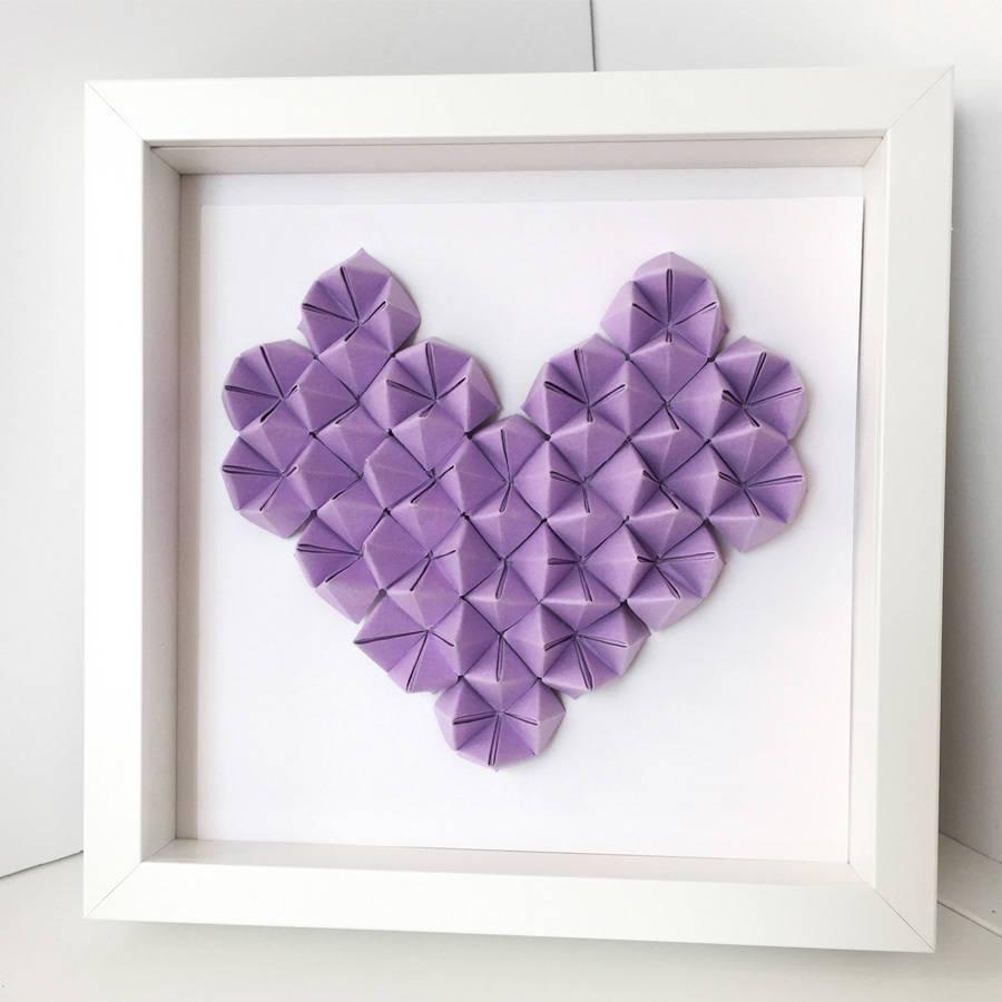 Origami Heart 3D Wall Art Framethe Origami Boutique regarding Most Up-to-Date Heart 3D Wall Art
