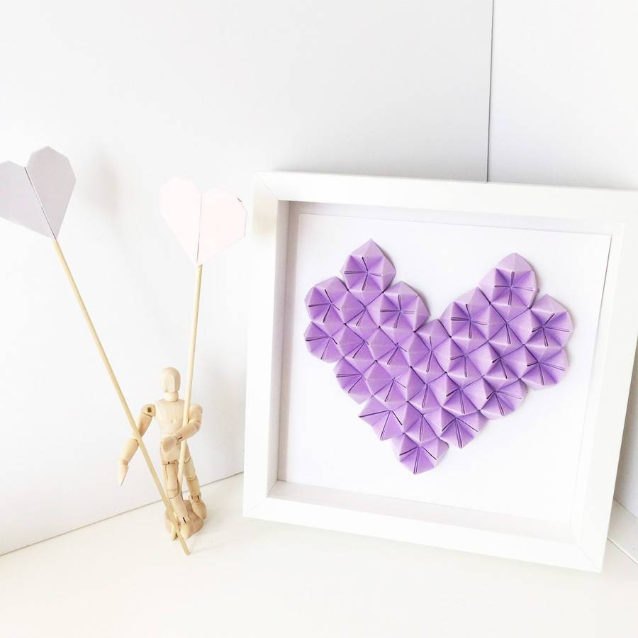 Origami Heart 3D Wall Art Framethe Origami Boutique within Most Popular Heart 3D Wall Art