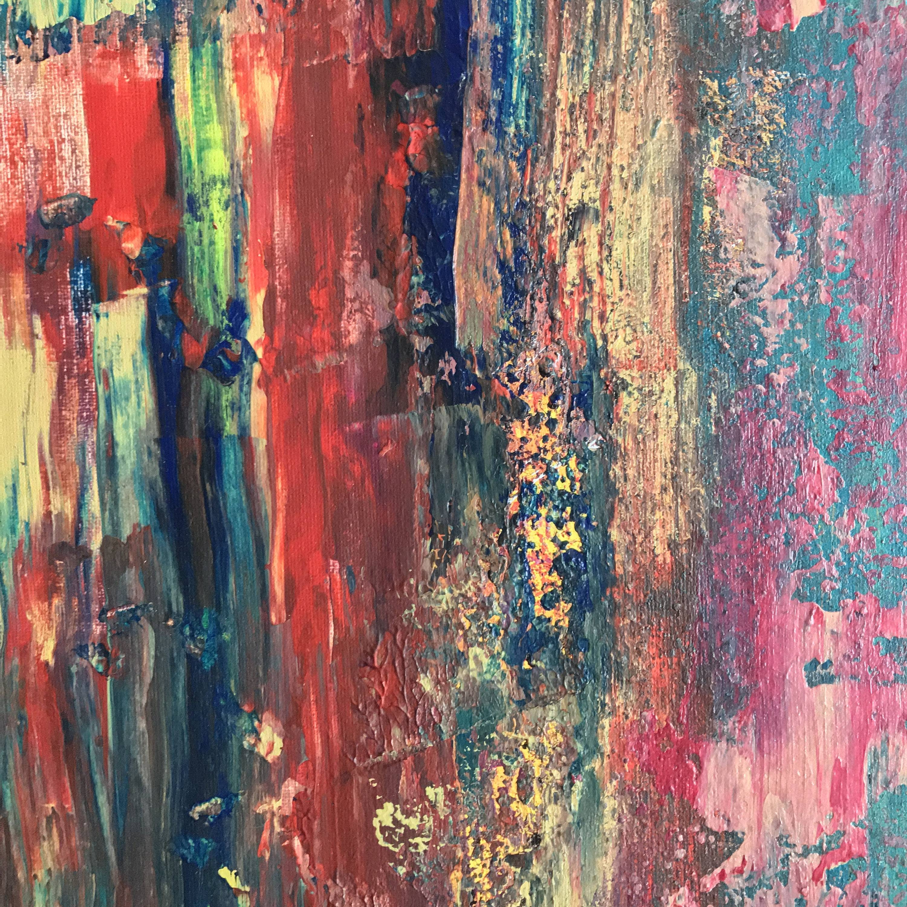 Original – Abstract Wall Art – Pink, Grey, Red, Yellow, Blue Within Most Recently Released Yellow And Blue Wall Art (View 7 of 20)