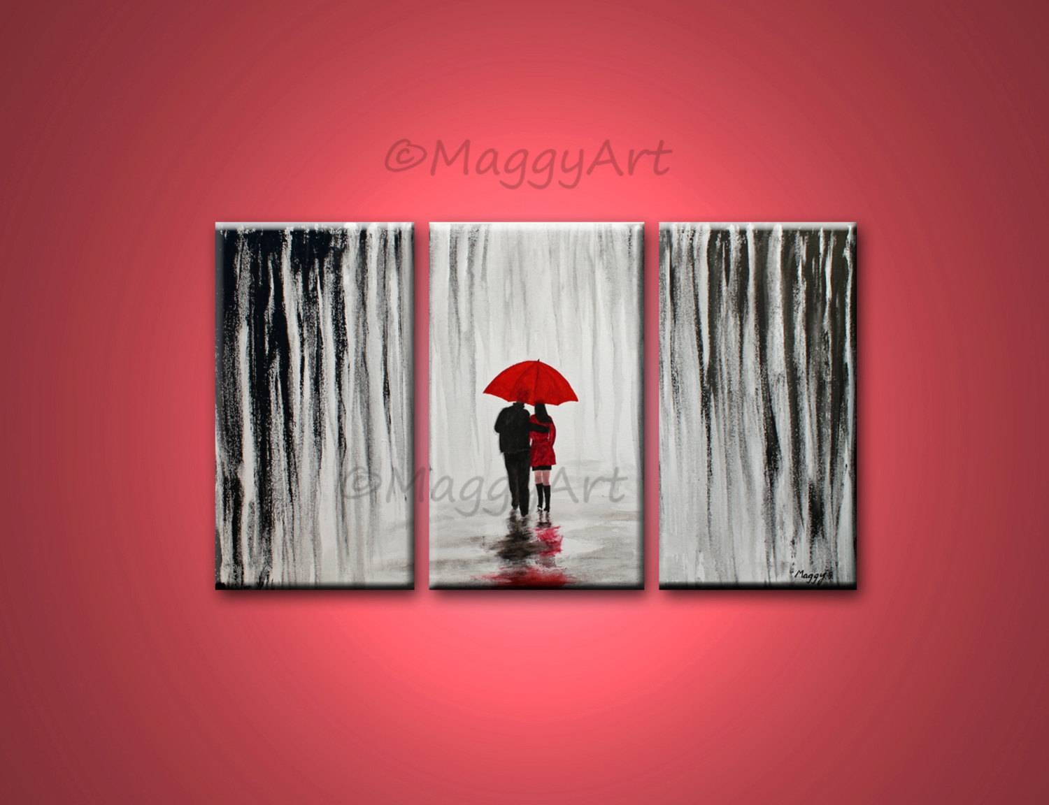 Original Acrylic Painting72x36 Inch Walking In Rain Black Regarding 2018 Black White And Red Wall Art (View 13 of 20)
