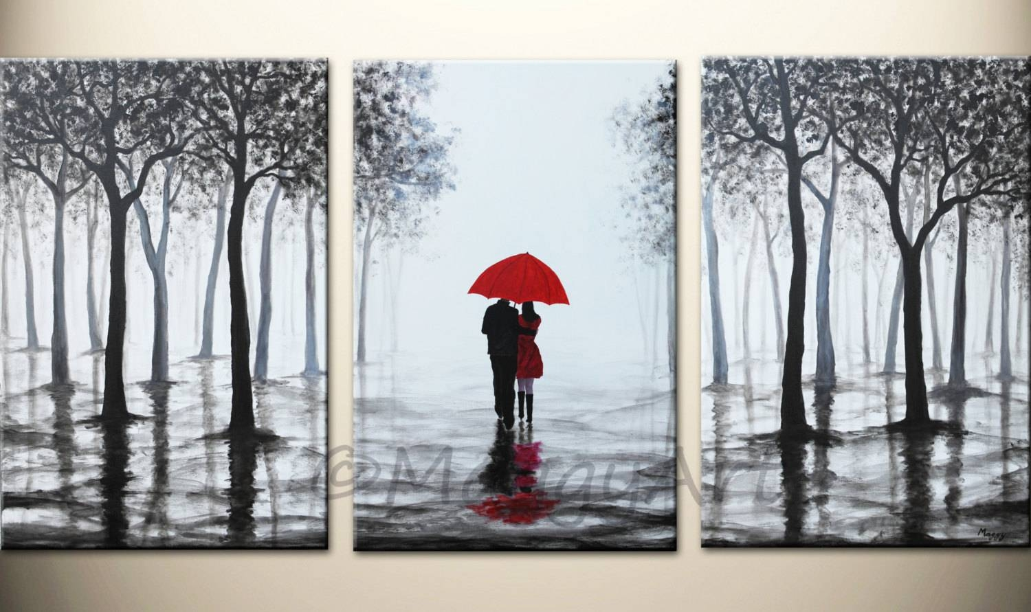 Original Acrylic Painting72x36 Inch Walking In Rain Black Within Recent Black White And Red Wall Art (View 10 of 20)