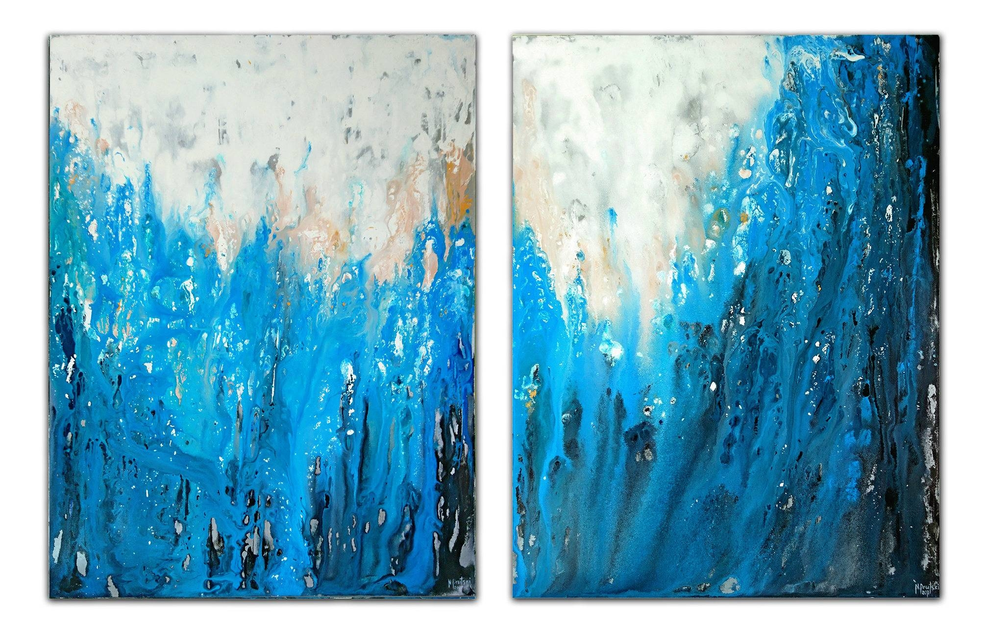 Original Blue Abstract Art 60X40Large Canvas Art Blue Painting within Newest Blue Wall Art