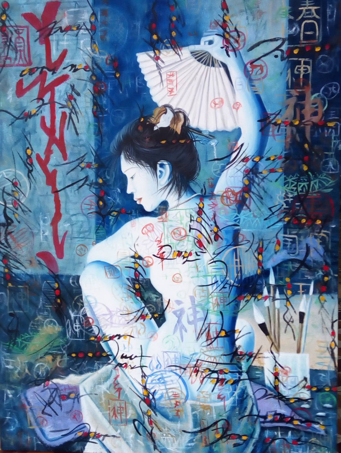 Original Geisha Katsuna Oil On Canvas Painting Japanese Art with regard to Most Recently Released Geisha Canvas Wall Art