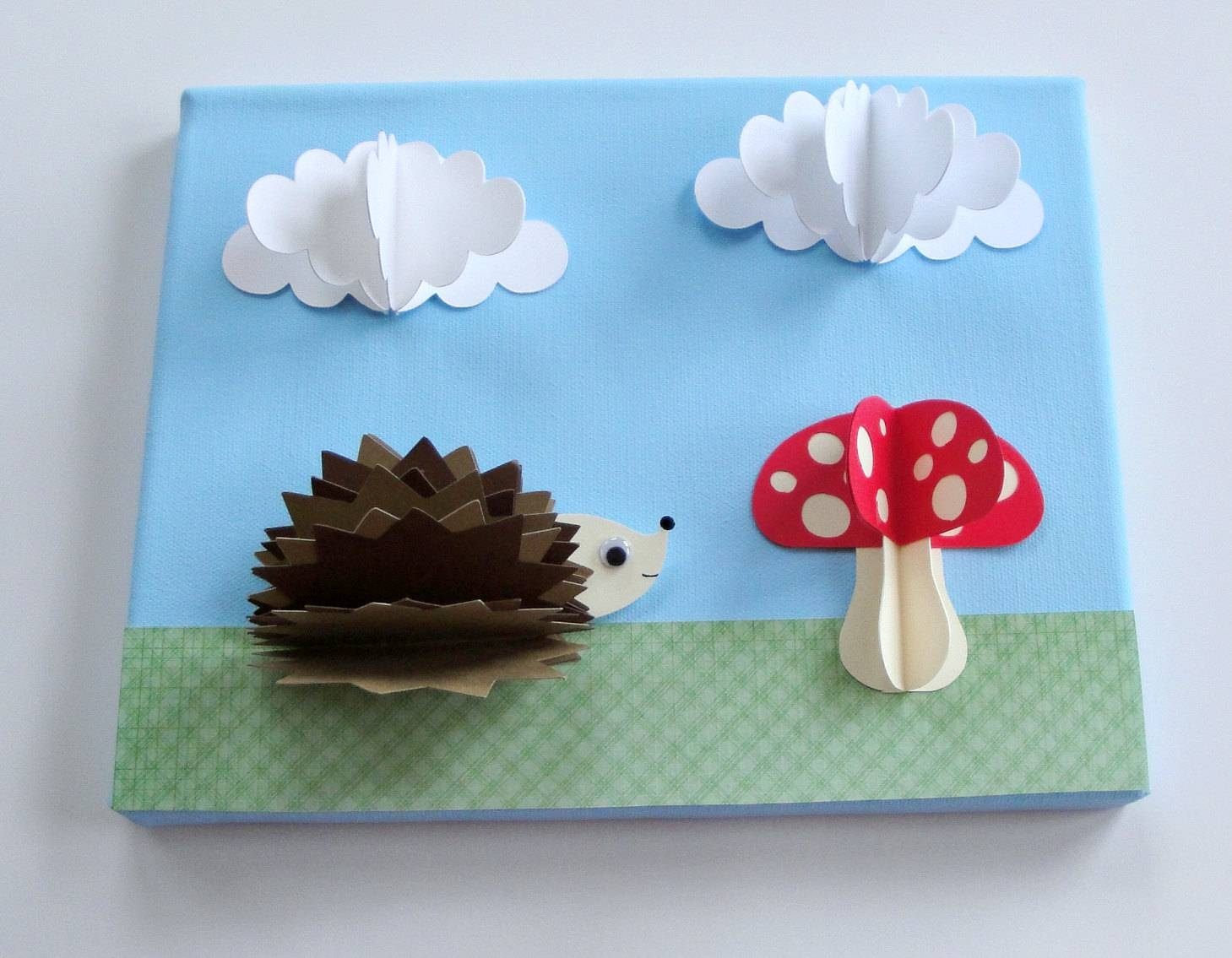 Original Hedgehog And Mushroompaper Wall Art On Canvas Including Intended For Current 3D Paper Wall Art (View 12 of 25)