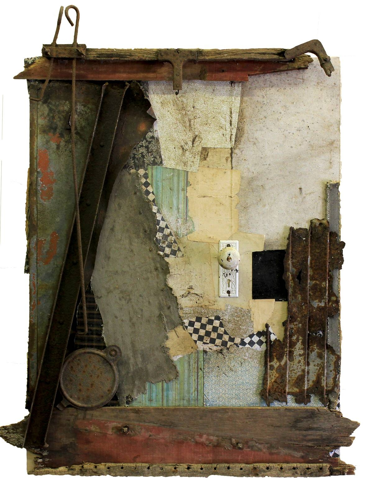 Original Mixed Media Vintage Industrial Art Assemblagemichel Throughout Recent Vintage Industrial Wall Art (View 12 of 20)