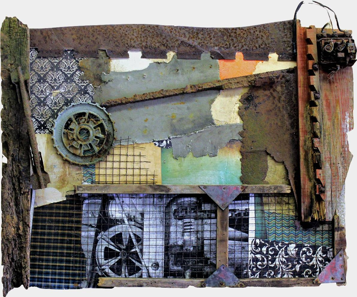 Original Mixed Media Vintage Industrial Art Assemblagemichel With Regard To Most Up To Date Vintage Industrial Wall Art (View 13 of 20)