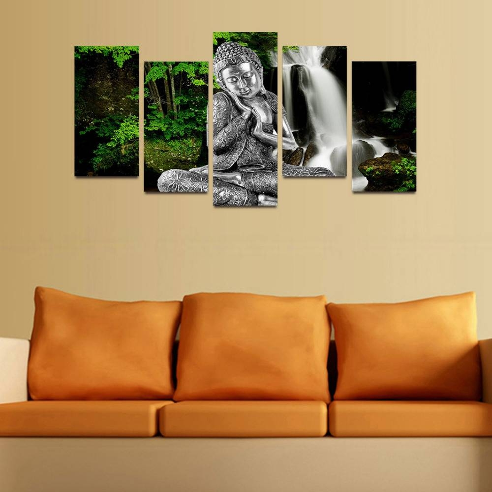 Original Oil Ink Canvas Print Silver Buddha And Waterfall Painting For Latest Silver Buddha Wall Art (View 7 of 15)