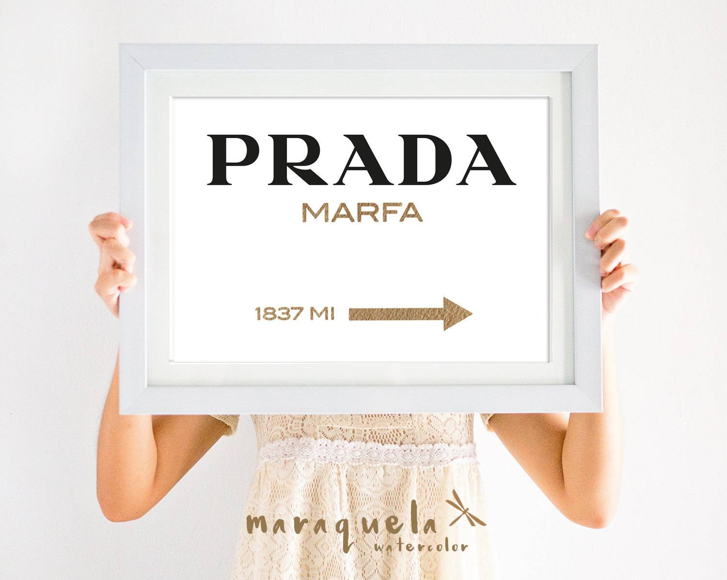 Original Prada Marfa Watercolor Golden Letters Inspired Wall Art Pertaining To Recent Prada Wall Art (View 9 of 25)