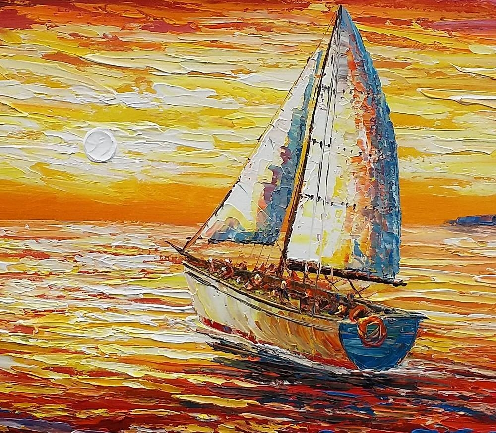 Original Wall Art, Sail Boat Painting, Seascape Painting, Abstract For Most Recently Released Boat Wall Art (Gallery 20 of 20)
