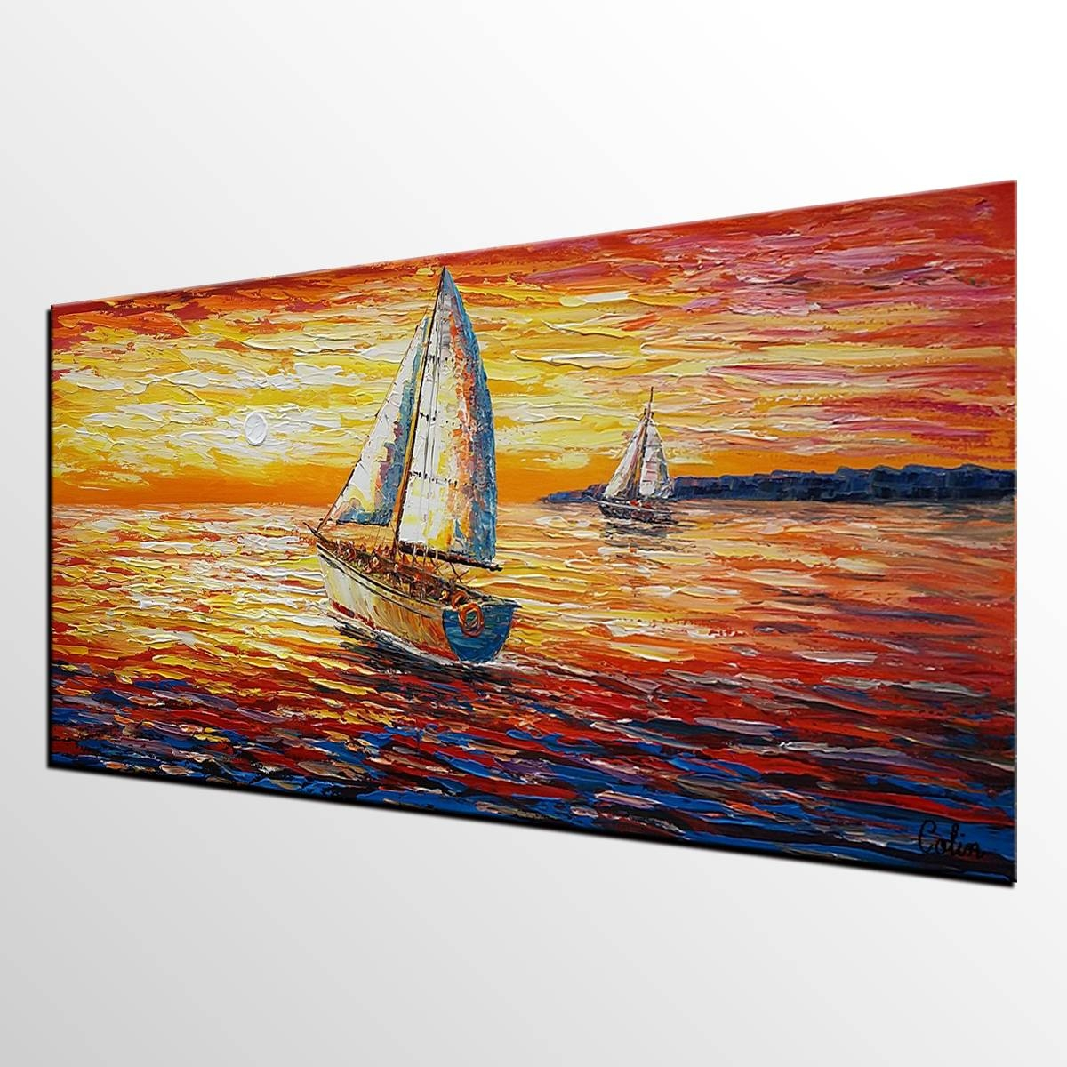 Original Wall Art, Sail Boat Painting, Seascape Painting, Abstract In Latest Boat Wall Art (View 12 of 20)
