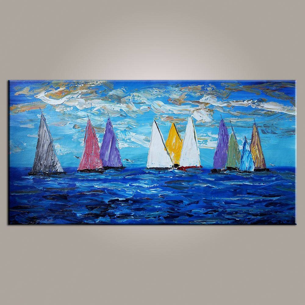 Original Wall Art, Sailing Boat Painting, Seascape Painting, Wall Regarding Current Boat Wall Art (Gallery 11 of 20)