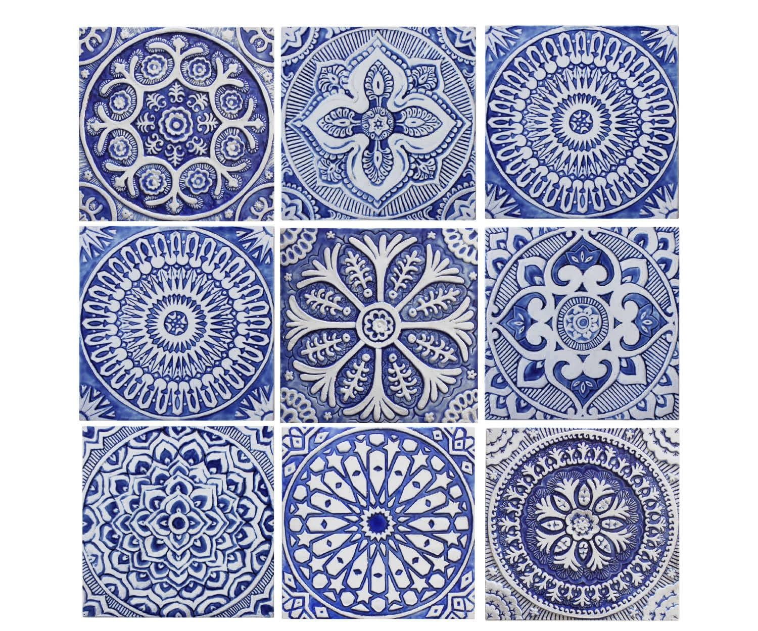 Outdoor Wall Art Set Of 9 Tiles Garden Decor Ceramic Tiles For Most Recent Ceramic Tile Wall Art (Gallery 12 of 20)