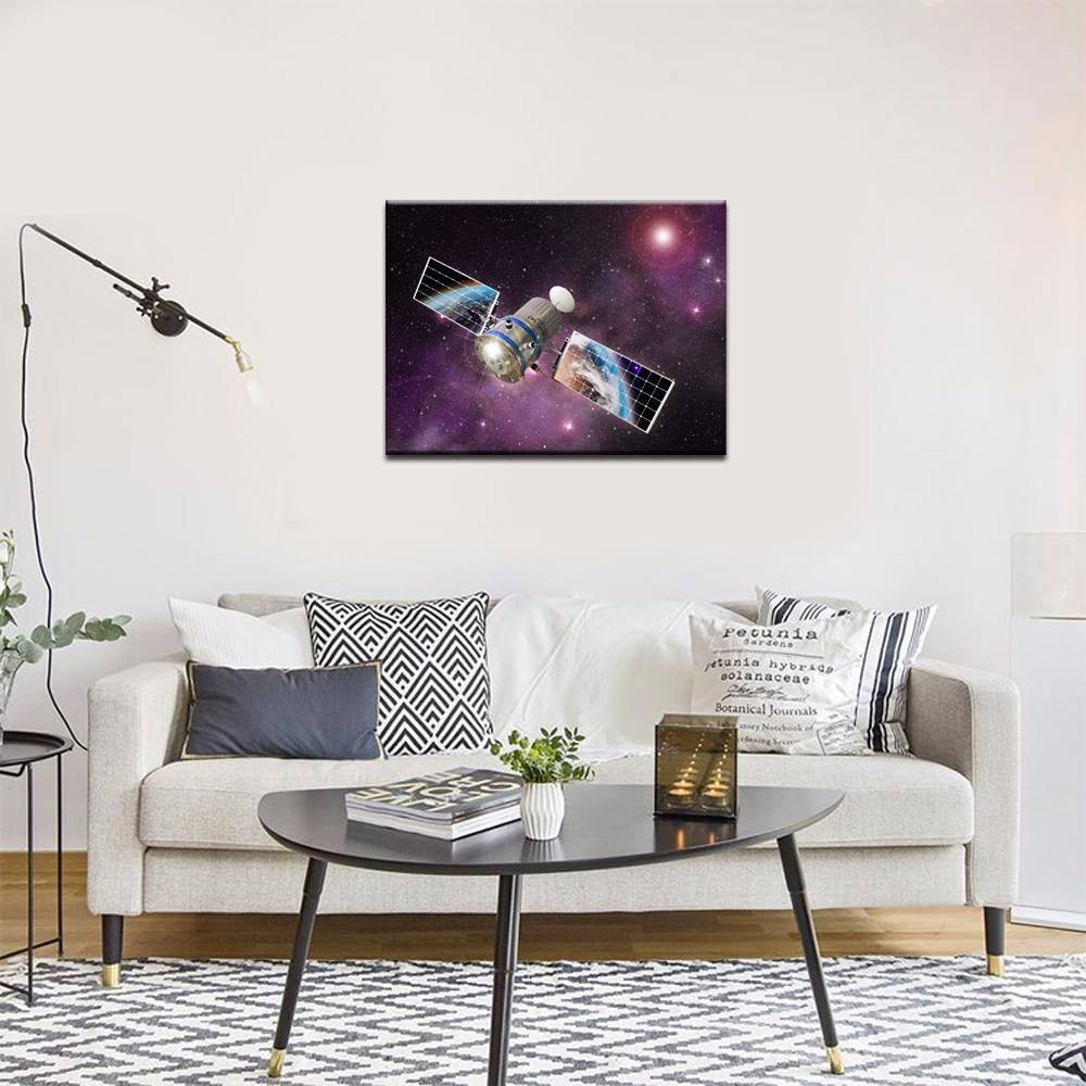 Outer Space Wall Art,satellite Orbiting The Earth Picture Photo Regarding Most Up To Date Outer Space Wall Art (View 17 of 25)