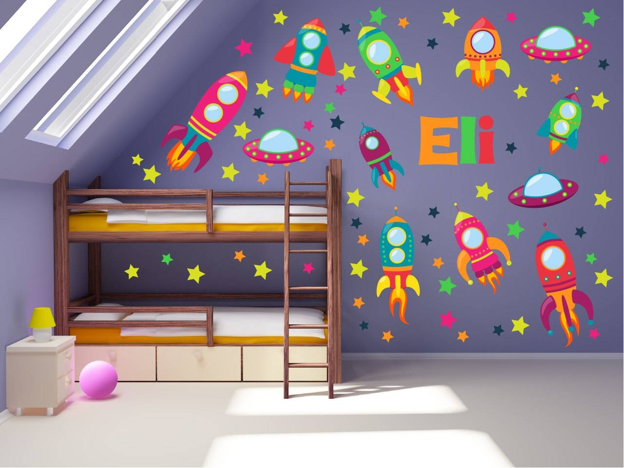 Outer Space Wall Decals Space Wall Art Space Theme Kids Intended For 2017 Outer Space Wall Art (View 25 of 25)