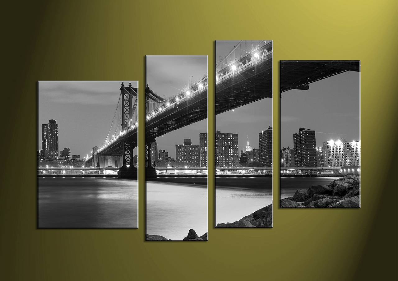 Outstanding Blossoming In The Moonlight' 4 Piece Wall Art Canvas Pertaining To Recent 4 Piece Wall Art Sets (View 16 of 20)